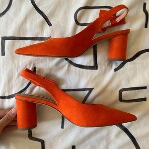 Orange Zara Slingback Heels